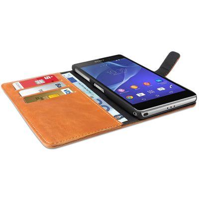 eFabrik Vintage Tasche für Sony Xperia Z2 Smartphone Hülle Case Etui Schutzhülle Cover Retro Wallet KunstKunstleder braun