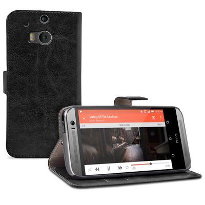 eFabrik Schutzhülle für HTC One M8 / M8s Tasche Hülle Schutz Case Cover Etui Wallet Bookstyle Schutztasche Leder-Optik schwarz