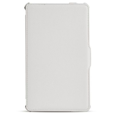 eFabrik Ultra Slim Cover für Samsung Galaxy Tab S 8.4 ( T700 , T701 , T705 ) 21,34 cm ( 8,4 Zoll ) Schutzhülle Aufsteller Tablet Case Zubehör Klemm Verschluss Sleep/ Wake Up Funktion Leder-Optik weiß