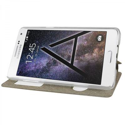 eFabrik Hülle für Samsung Galaxy A7 Tasche (für A7 2015) Schutz Cover Flip Case Etui Schutzhülle Schutztasche Handyhülle Fenster gold farben ( kein S-View )