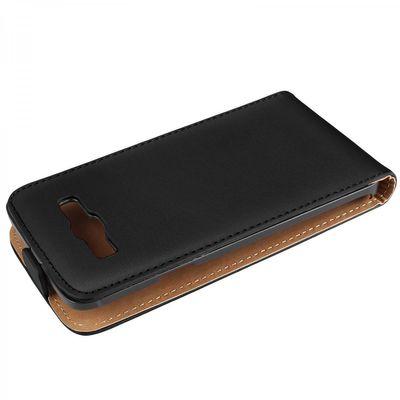 eFabrik Kunstleder Case für Samsung Galaxy J7 (2015) Schutz Tasche Hülle Cover Flip Case Etui Schutzhülle Kunstledertasche Kunstlederhülle schwarz