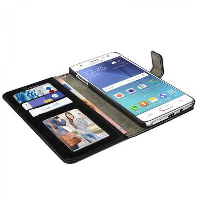 eFabrik Etui für Samsung Galaxy J5 (2015) Tasche Schutzhülle Hülle Case Cover Handyhülle Schutztasche Leder-Optik