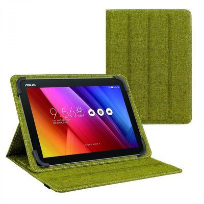 eFabrik Tasche für ASUS ZenPad 10 10.1 Zoll Schutz Hülle Case Cover türkis-grün und grau Leinen