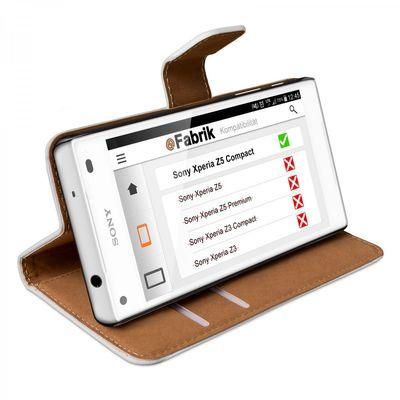 eFabrik Cover für Sony Xperia Z5 Compact Case weiß ( nur für Xperia Z5 COMPACT ) Schutzhülle Bookstyle Hülle Handy-Zubehör