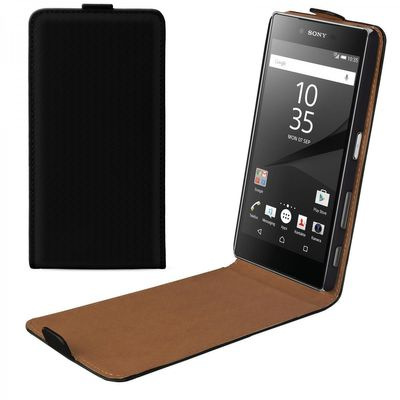 eFabrik Flip Case für Sony Xperia Z5 Premium (5,5 Zoll) Hülle Tasche Schutz schwarz