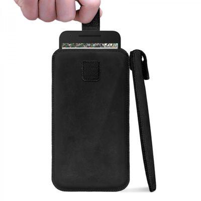 ROYALZ Sleeve für Nexus 5X Leder Tasche Handyhülle Cover Slim Case Etui Rauszieh-Lasche mit PULL-UP Funktion Leder schwarz