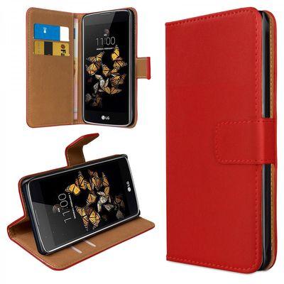 eFabrik Cover für LG K8 (2016) Schutzhülle Tasche Handy Zubehör Bookstyle Case Hülle mit Aufstellfunktion Wallet Kunstleder rot