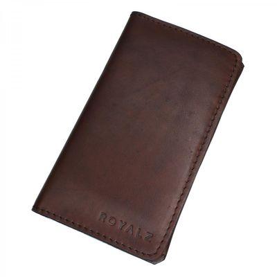 ROYALZ Ledertasche für Huawei P9 Lite Brieftasche Portemonnaie Tasche Leder Cognac Braun