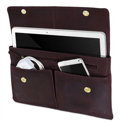 ROYALZ Ledertasche für Samsung Galaxy Tab Pro 12,2 Schutz Tasche Leder ( SM-T900 / SM-T905 ) Transporttasche Retro Vintage Design Hülle braun
