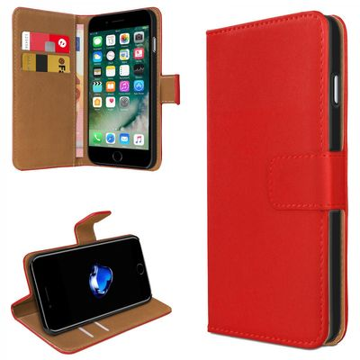 eFabrik Schutzhülle für Apple iPhone 8 / iPhone 7 Cover Tasche Book Case Etui Slim Design Leder-Optik rot