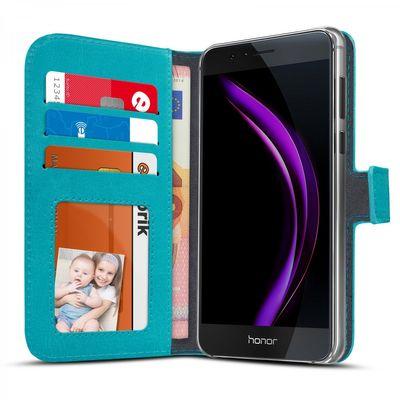 eFabrik Tasche für Huawei Honor 8 Cover Schutz Hülle Schutztasche Book Case Schutzhülle Aufsteller Innenfächer Leder-Optik türkis