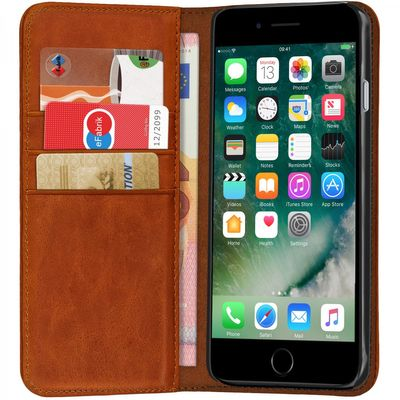 ROYALZ Ledertasche für Apple iPhone 8 / iPhone 7 Lederhülle Book Case Tasche Cover Hülle Etui Schutzhülle Schutztasche mit unsichtbarem Magnet Standfunktion Vintage Leder braun