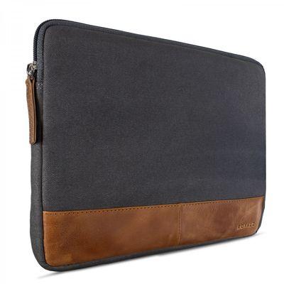 ROYALZ Universal Canvas Tasche für Tablets 8,9 Zoll - 10 Zoll (Tablets bis max: 24cm x 17cm x 1,5cm) Design Tablet Sleeve Hülle aus Canvas grau / Rindsleder braun