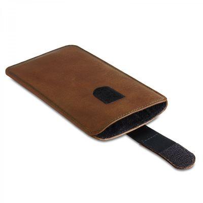 ROYALZ Universal Schutzhülle für Sony Xperia X Compact Ledertasche (Nicht für Xperia X passend) Schutztasche Sleeve Cover Slim Case Etui Tasche Vintage Hülle Leder cognac braun