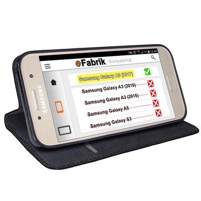 eFabrik Book Case für Samsung Galaxy A3 2017 Tasche ( SM-A320F | A320 ) Schutzhülle Cover Schutztasche Schutz Hülle Etui Leder-Optik