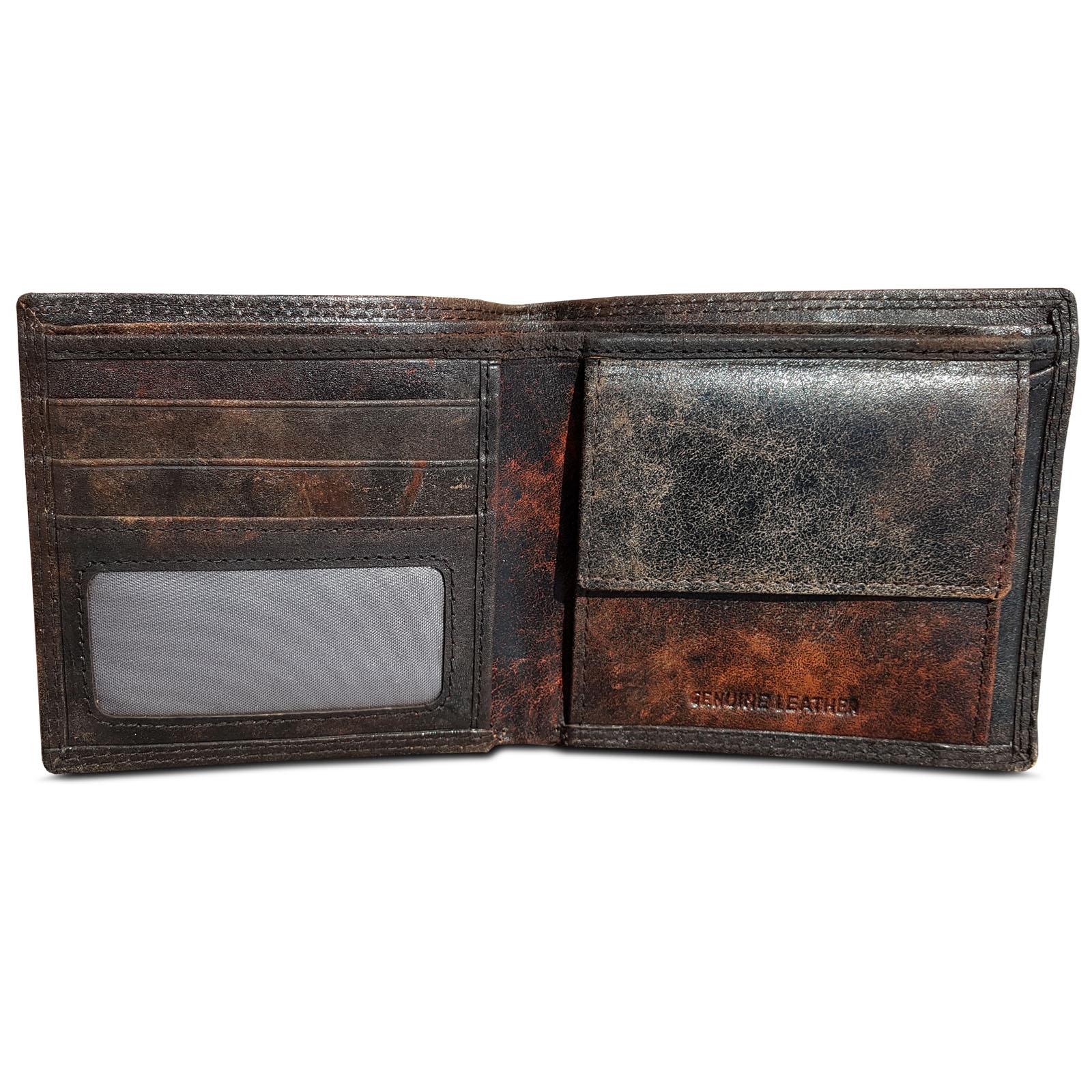 21776d8bd41b0 ROYALZ Vintage Geldbörse Herren klein Brieftasche aus Leder Geldbeutel  Männer Portemonnaie braun flach Portmonee im Querformat