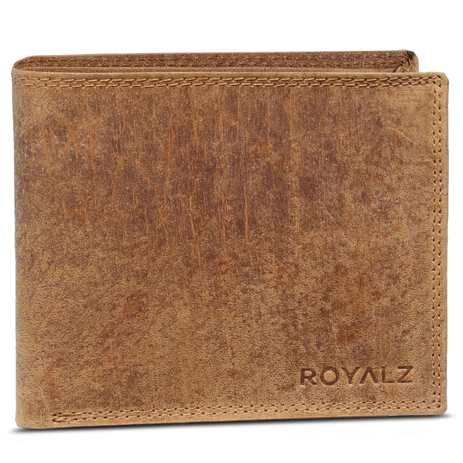537f8f577a23ef ROYALZ Vintage Geldbörse Herren klein Brieftasche aus Leder Geldbeutel  Männer Portemonnaie braun flach Portmonee im Querformat