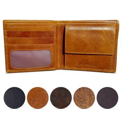 ROYALZ Vintage Geldbörse Herren klein Brieftasche aus Leder Geldbeutel Männer Portemonnaie braun flach Portmonee im Querformat