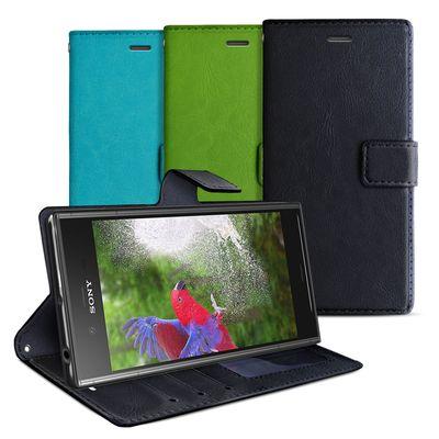 eFabrik Tasche für Sony Xperia XZ1 Schutzhülle Handy Hülle Schutztasche Case Aufstellfunktion