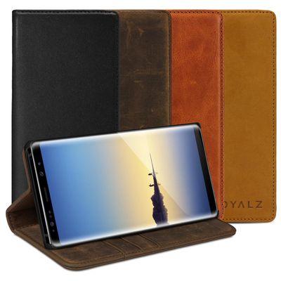 ROYALZ Schutzhülle für Samsung Galaxy Note 8 Ledertasche (6.3 Zoll) Lederhülle Tasche Book Case Cover Schutztasche Handyhülle Hülle Vintage Leder -Unsichtbares Magnet