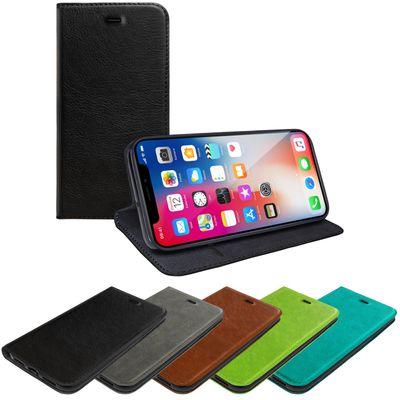 eFabrik Tasche für Apple iPhone X Hülle Schutztasche Book Cover Slim Case Handy Etui Schutzhülle mit Magnet Verschluss Kartenfach