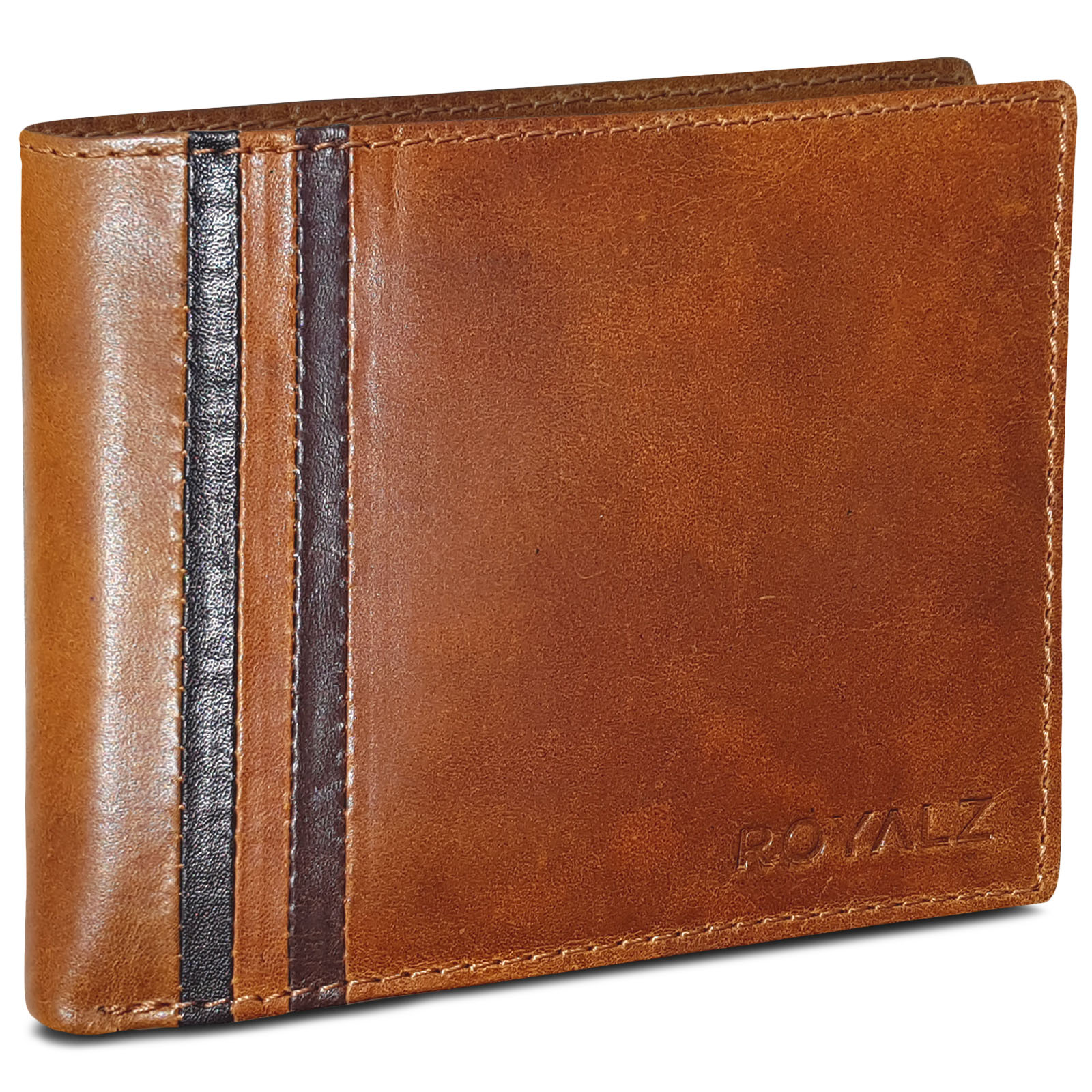 d3133f010fe14 ROYALZ Leder Portemonnaie für Herren Geldbörse Vintage Geldbeutel Portmonee  Etui 8 Kartenfächer Vintage
