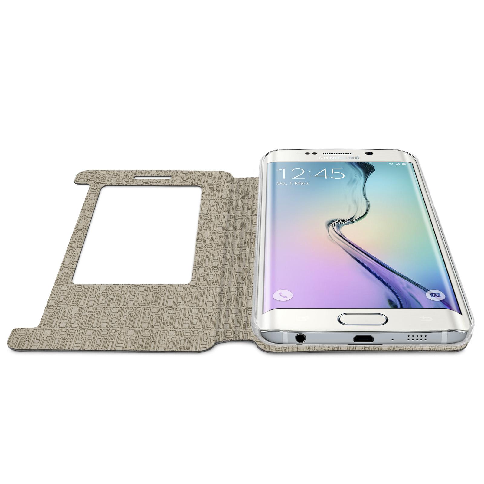 c37a428e7bf eFabrik Schutzhülle für Samsung Galaxy S6 Edge Tasche Hülle mit  Sichtfenster ( KEIN S-VIEW ) Smartphone Flip Handy Cover Stand Funktion