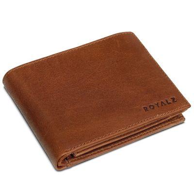 ROYALZ Geldbörse Herren Leder mit RFID-Schutz Geldbeutel kompaktes Portemonnaie Querformat Männer Brieftasche im Vintage Design