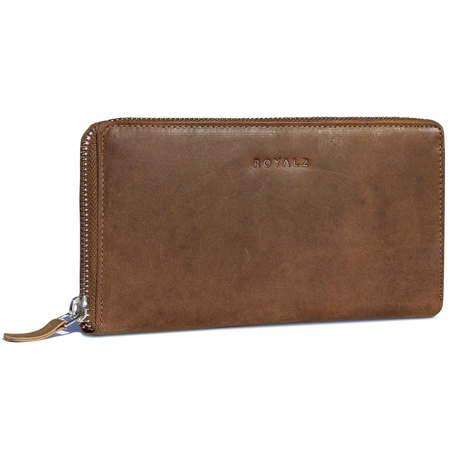 7635b2c756270 ROYALZ Vintage Portemonnaie Damen Groß mit Reißverschluss Büffel-Leder RFID  Schnutz Frauen Geldbörse Querformat