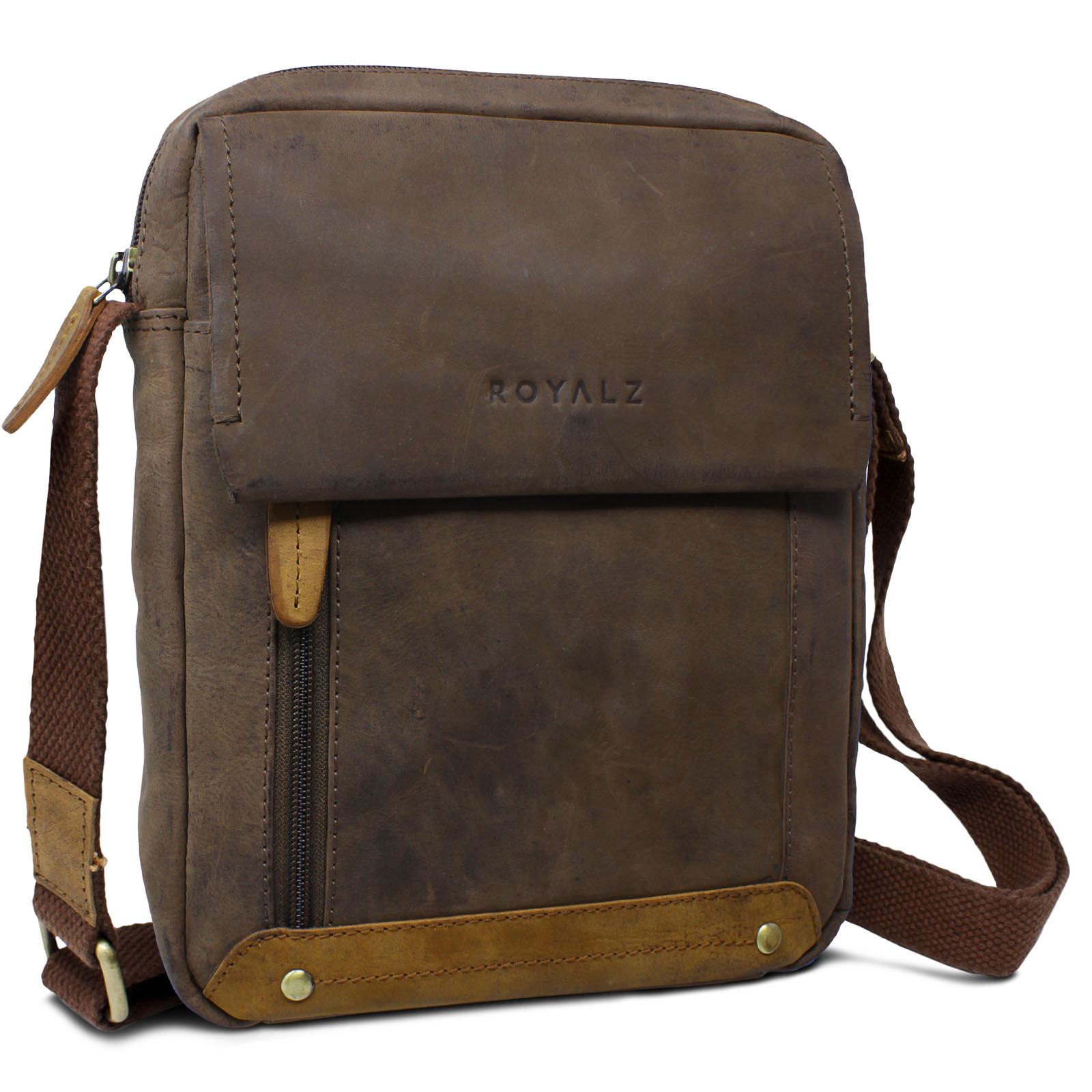 8ad8903da1ff0 ROYALZ Leder Umhängetasche für Herren klein kompakte Design Ledertasche  Messenger Bag Vintage-Look