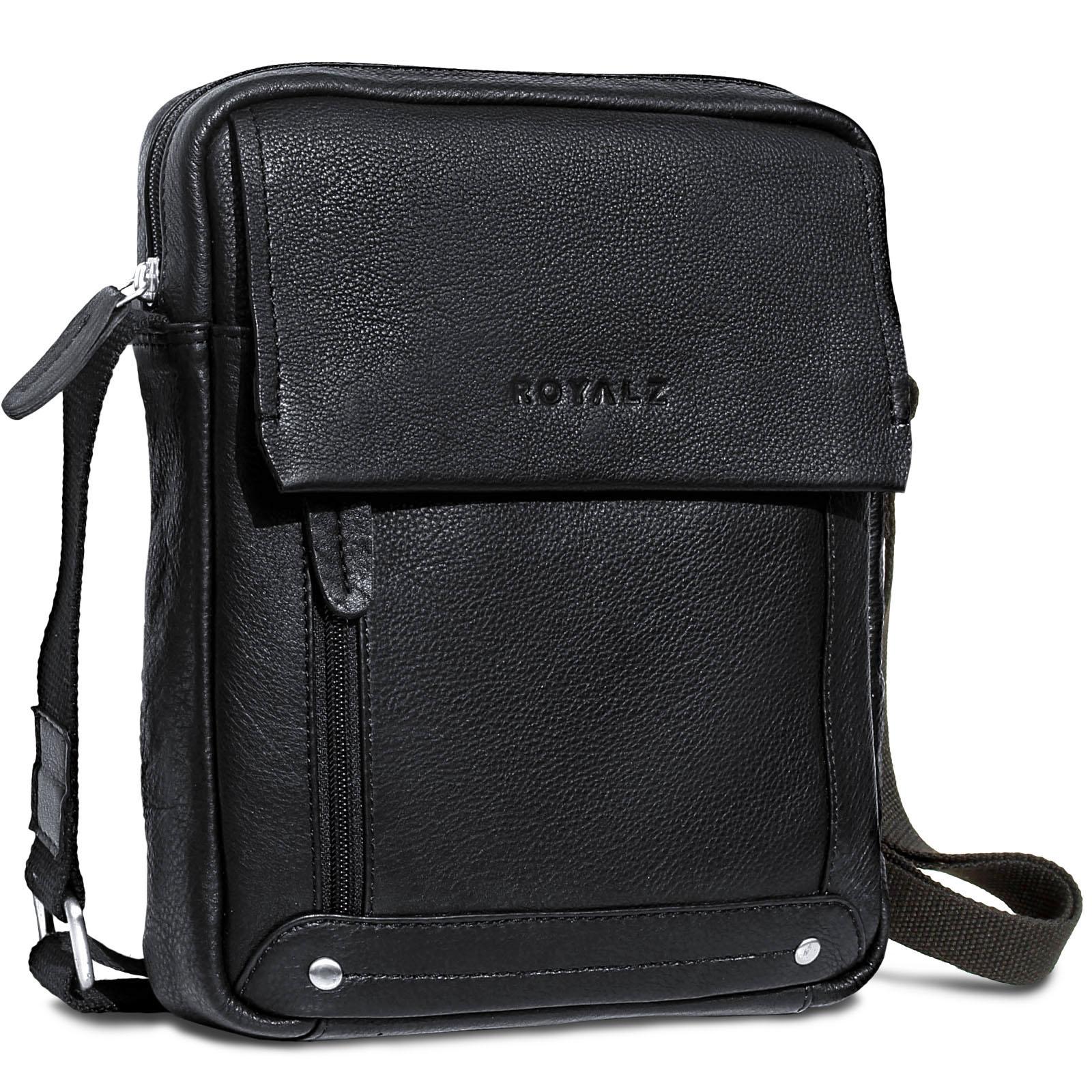 4f7d4f4a62632 ROYALZ Leder Umhängetasche für Herren klein kompakte Design Ledertasche  Messenger Bag Vintage-Look