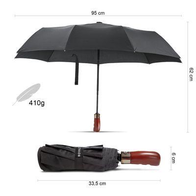 ROYALZ Taschenschirm Sturmfest Regenschirm mit Auf-Zu-Automatik Holzgriff Teflon-beschichtet Sturmsicher Schirm Knirps inkl. Schutztasche Schwarz
