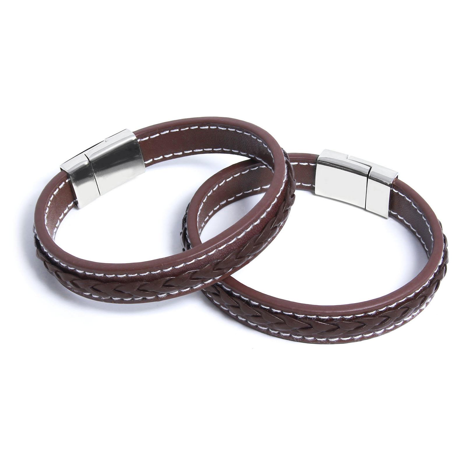 marktfähig heiß-verkaufender Fachmann 60% günstig ROYALZ Herren Armband 2 Set mit Magnet Verschluss in Lederoptik  Handgelenk-Band für Männer 2 x Accessoire mit geflochten Elemente  Metalschnalle 2 Paar