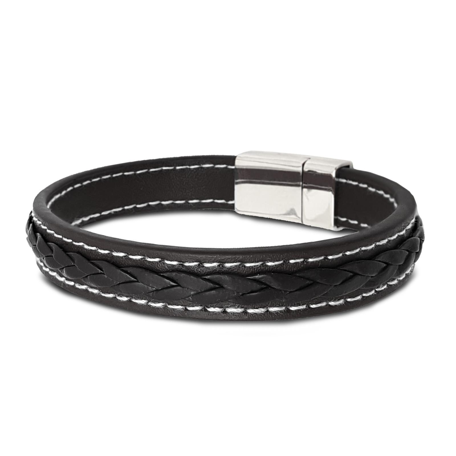 ROYALZ Herren Armband 2 Set mit Magnet Verschluss in Lederoptik Handgelenk Band für Männer 2 x Accessoire mit geflochten Elemente Metalschnalle 2 Paar