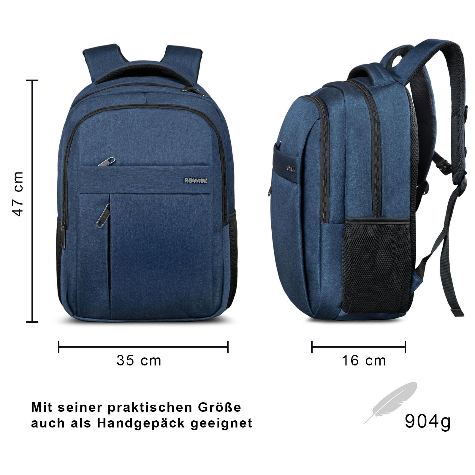 ROYALZ Laptop Rucksack mit 15,6 Zoll Laptopfach Daypack Schule und Business Tasche Geräumig für Arbeit Uni Freizeit