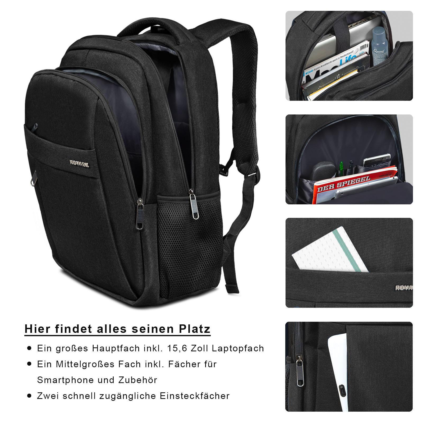 ROYALZ Schul Rucksack mit 15,6 Zoll Laptopfach für Herren Teenager Jungen in Schule Uni Freizeit viele Fächern Notebook Backpack