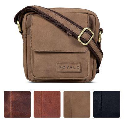 ROYALZ Umhängetasche Klein für Herren Leder Vintage Look Kleine Schultertasche Mini Seitentasche zum Umhängen