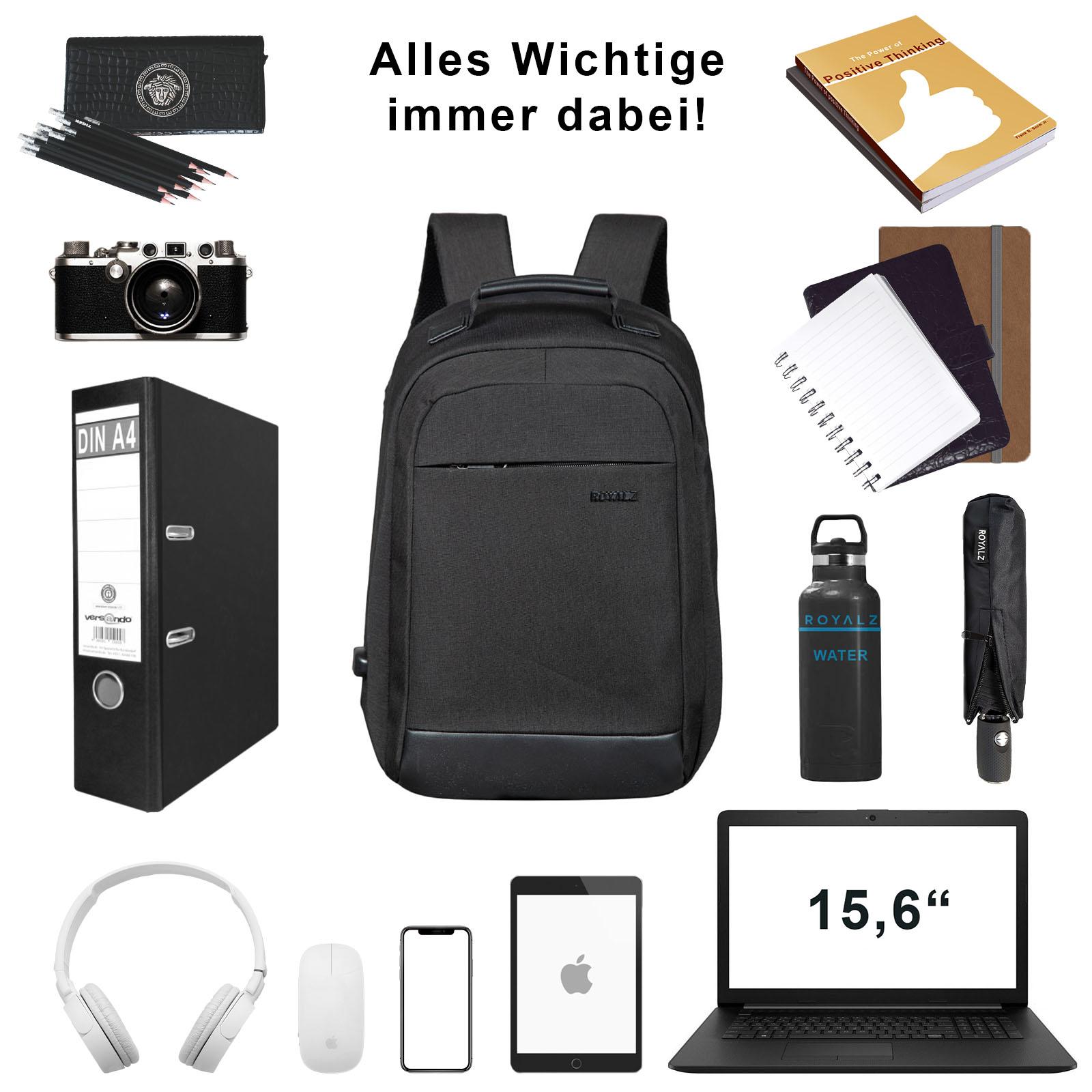 ROYALZ Laptop Rucksack 15,6 Zoll mit 180 Grad Öffnung Ein geräumiges Hauptfach für Schule Arbeit und Freizeit