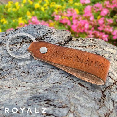 ROYALZ Leder Schlüsselanhänger für die liebsten Großeltern beste Oma und Opa der Welt Gravur